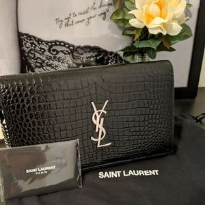 Saint Laurent YSL Monogram Croc Embossed Leather